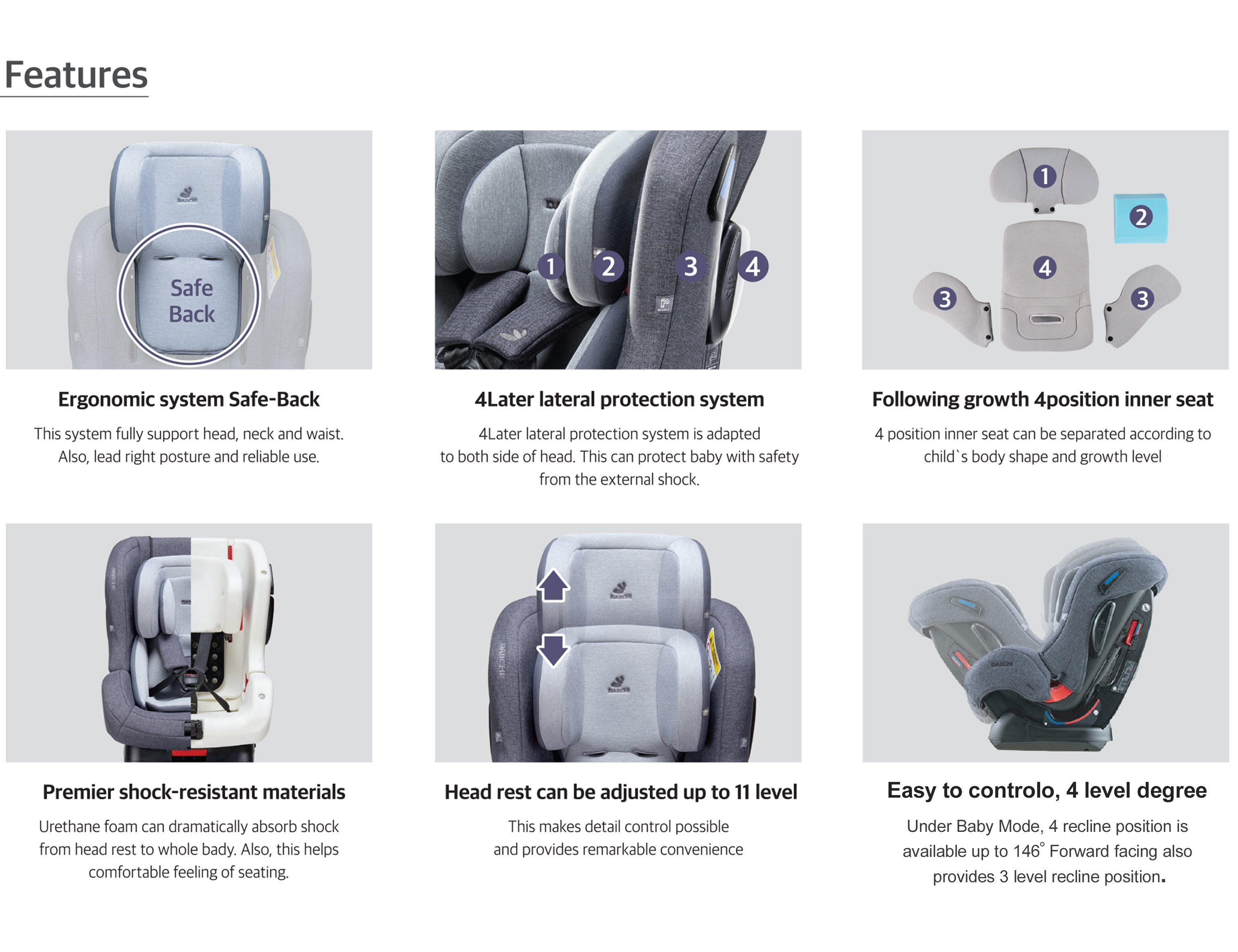 DAIICHI CAR SEAT FIRST7 PLUS CHARCOAL Features