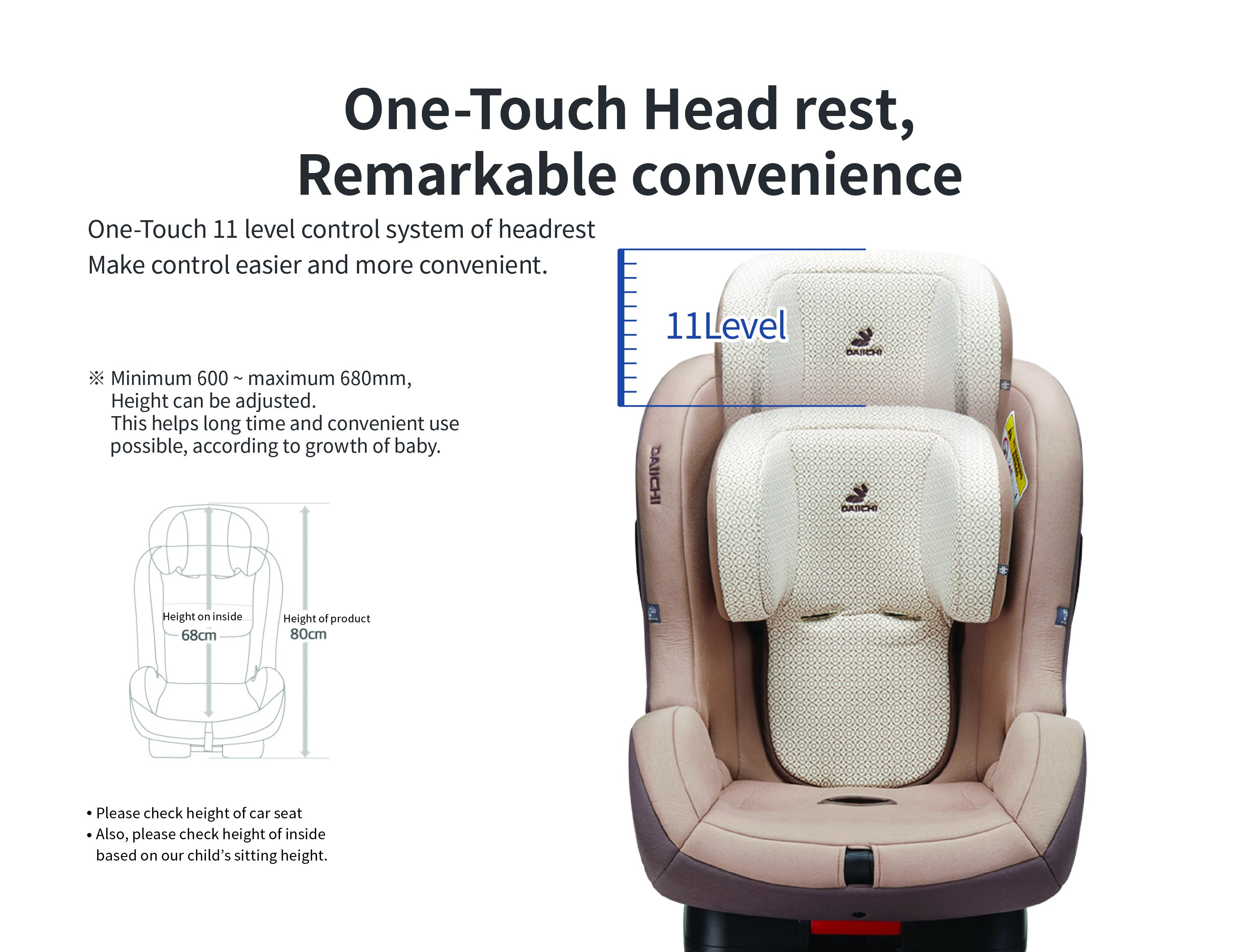 DAIICHI CAR SEAT FIRST7 PLUS CHARCOAL Head Rest