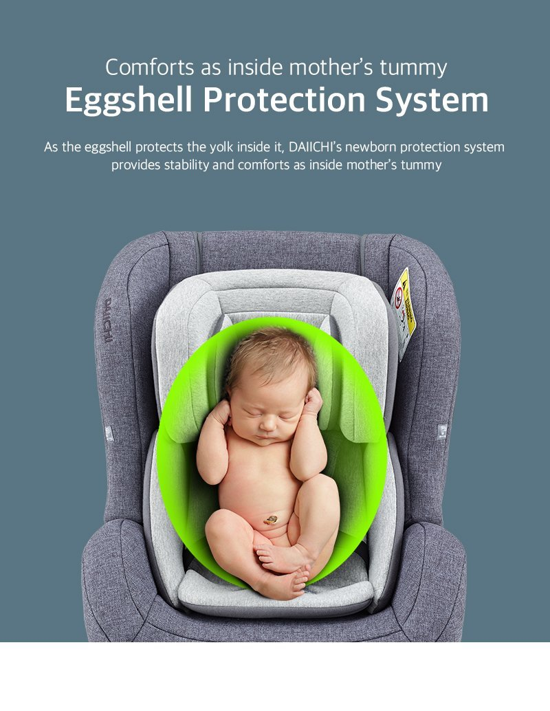 DAIICHI CAR SEAT FIRST7 PLUS ORGANIC GRAY Eggshell Protection System