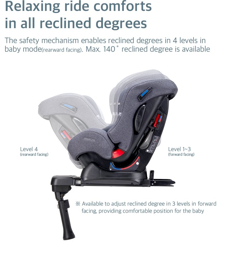 DAIICHI CAR SEAT FIRST7 PLUS ORGANIC GRAY Degrees