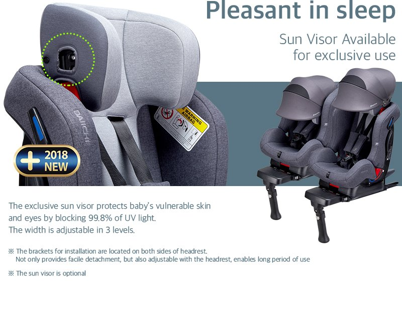 DAIICHI CAR SEAT FIRST7 PLUS CHARCOAL Pleasant in Sleep