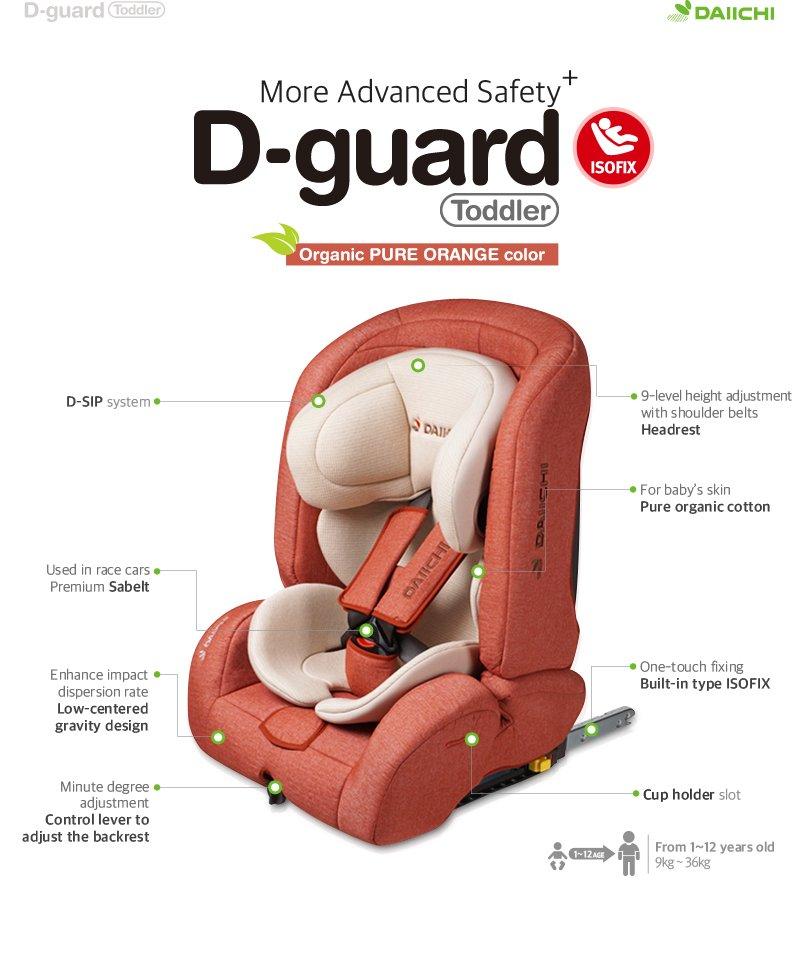 DAIICHI CAR SEAT D-GUARD TODDLER ORGANIC GRAY FIX-N Description