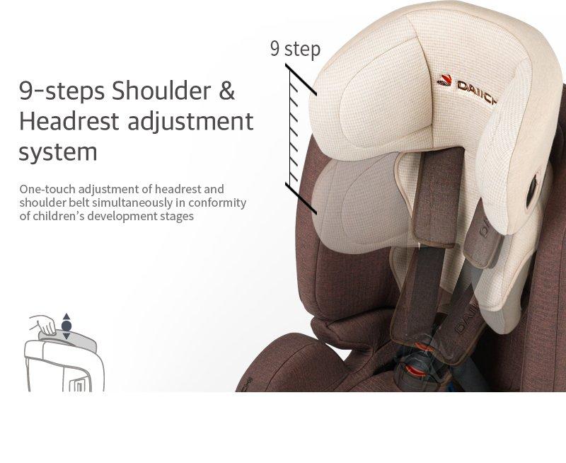 DAIICHI CAR SEAT D-GUARD TODDLER ORGANIC GRAY FIX-N Adjustment System
