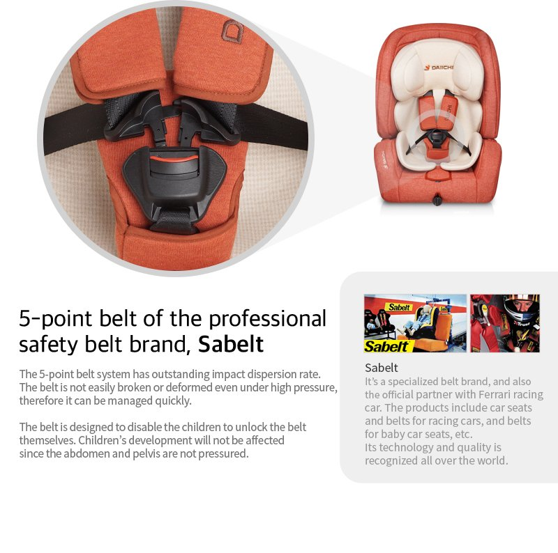 DAIICHI CAR SEAT D-GUARD TODDLER ORGANIC GRAY FIX-N Safety Belt