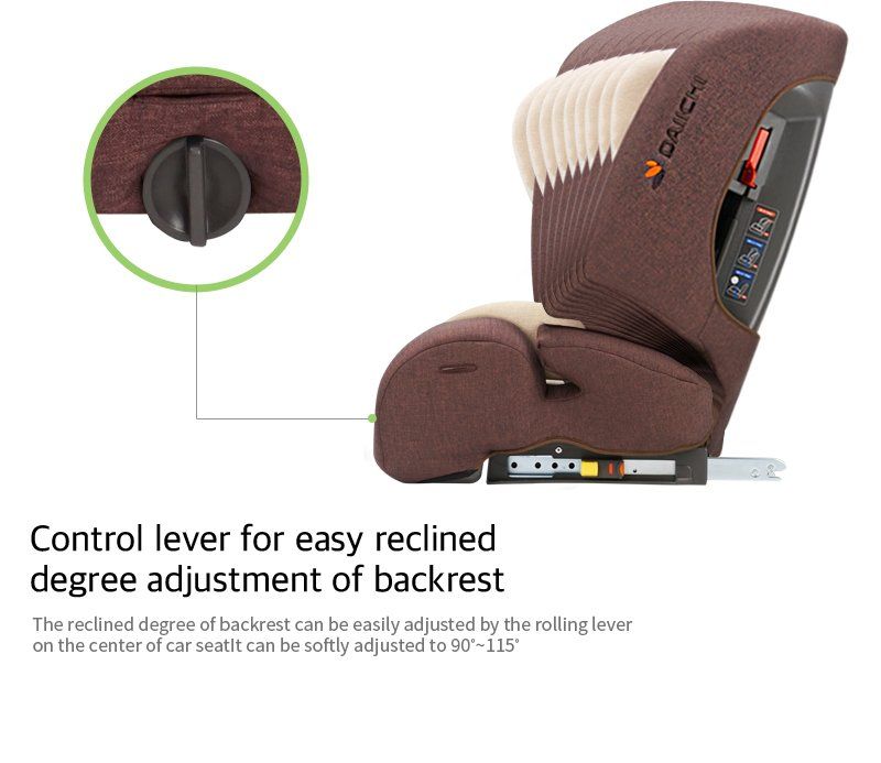 DAIICHI CAR SEAT D-GUARD TODDLER ORGANIC GRAY FIX-N Backrest Adjustment