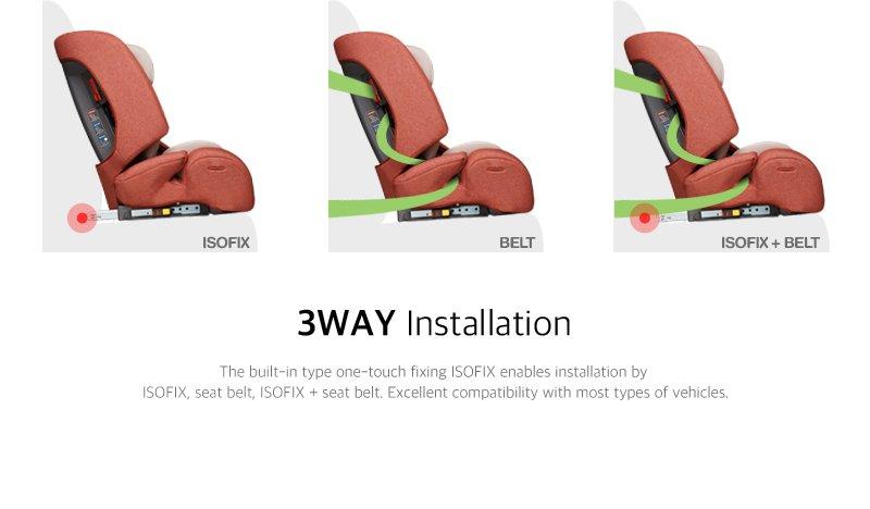 DAIICHI CAR SEAT D-GUARD TODDLER ORGANIC GRAY FIX-N Installation