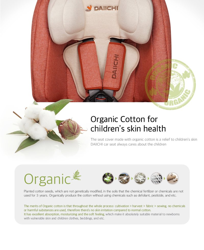 DAIICHI CAR SEAT D-GUARD TODDLER ORGANIC GRAY FIX-N Organic Skin Health