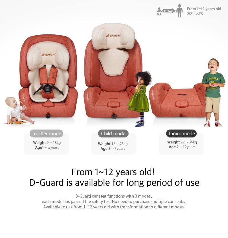 DAIICHI CAR SEAT D-GUARD TODDLER ORGANIC GRAY FIX-N Age