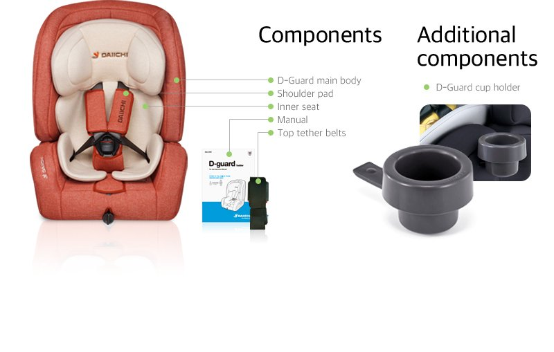 DAIICHI CAR SEAT D-GUARD TODDLER ORGANIC GRAY FIX-N Additional Components
