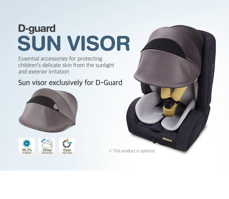 DAIICHI CAR SEAT D-GUARD TODDLER ORGANIC GRAY FIX-N Sunvisor